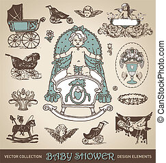 baby shower design elements /vector - set of antique baby...