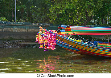 Colorful long tailed boat in Chaopraya river Thailand -...