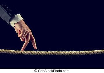 Dedos, andar, sobre, Desfiado, corda
