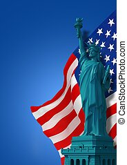 Truly American Symbols. Blue American Background with United...