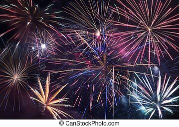 Fireworks Blast Background Colorful Fireworks Backdrop