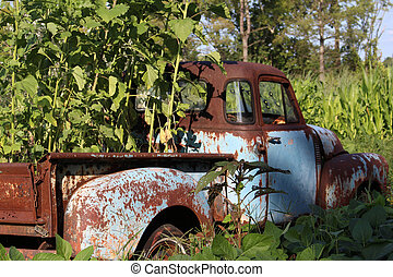 Rusted blue truck