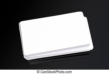 Plastic Business Cards Mockup on Black Glassy Background....