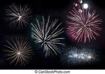 Isolated Firework Blasts - Isolated on Black Firework Blasts...