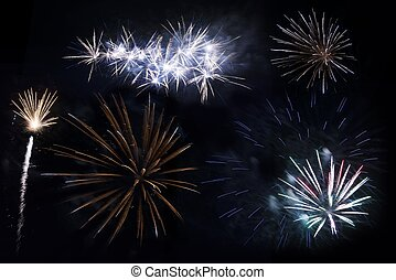 Fireworks Isolated - Different Firework Explosions Isolated...