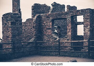 Old House Ruins. Stone Walls. Burned to the Ground Old...