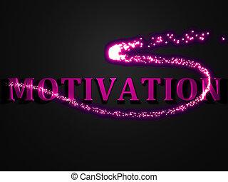 MOTIVATION-, 3d, napis, świecący, kreska, iskra