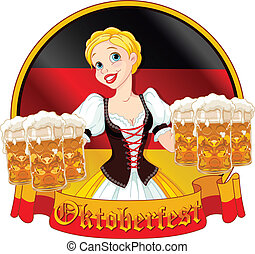 Oktoberfest girl design - Funny German girl serving beer on...