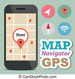 Navigator concept smart phone with icon