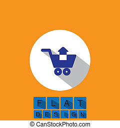 flat design icon of removing items shopping cart - vector...