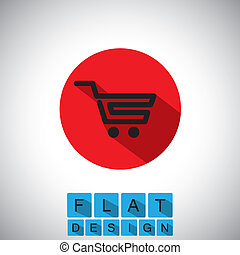 flat design icon of online shopping cart - vector graphic...