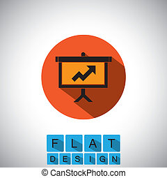 flat design icon of arrow graph on board - vector graphic....