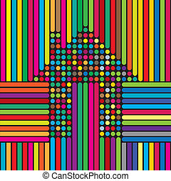 home, house, apartment icon with colorful lines and dots -...
