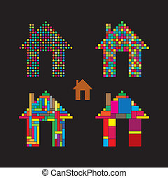 colorful abstract house vector icons of dots, squares and...