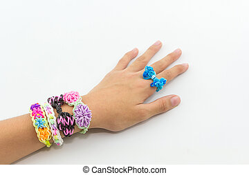 Colorful of elastic rainbow loom bands. - Colorful of...