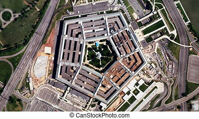 Satellite Zoom into US Pentagon - A slow aerial zoom in on...