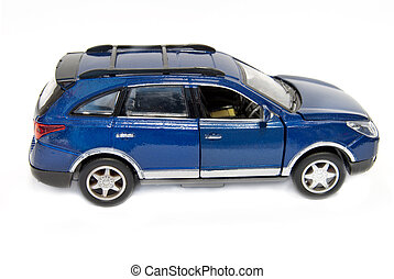 blue car - model of blue car is isolated on a white...
