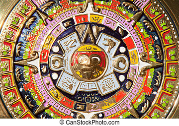 Aztec Calendar - Golden plate full of colors. Aztec Calendar...