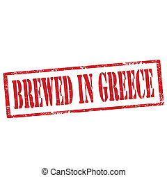 Brewed In Greece-stamp - Grunge rubber stamp with text...