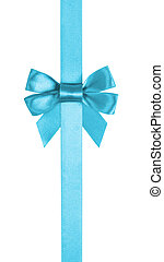azure blue ribbon bow vertical border, white background