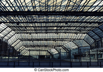 Urban construction under a glass roof