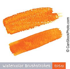 Set of Orange Watercolor Brush Strokes