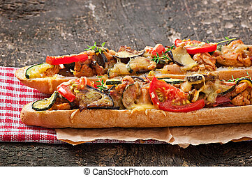 sandwich with roasted vegetables - Big sandwich with roasted...