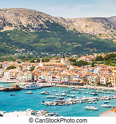 Baska, Krk, Croatia, Europe. - Panoramic view of Baska town,...