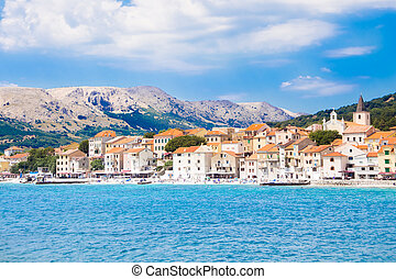 Baska, Krk, Croatia, Europe - Panoramic view of Baska town,...
