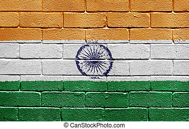 Flag of India on brick wall