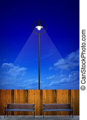 street lighting with bench and wooden fence