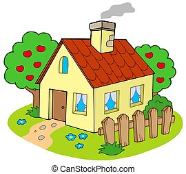 House with garden - isolated illustration