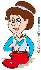 Smiling woman cooking at home - isolated illustration.