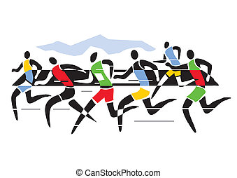 Marathon runners - A stylized drawing of Marathon...