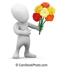 3d Little man holds a bunch of flowers - 3d render of a...
