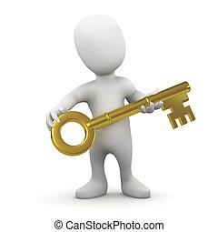3d Little man holding a gold key - 3d render of a little...