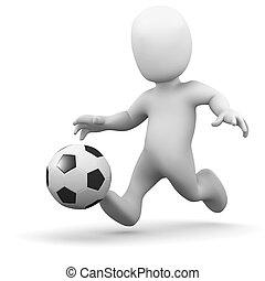 3d Little man kicking a football - 3d render of a little...