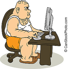 Fat Man At The Computer - The fat man sitting at the...