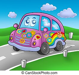Hippie car on road - color illustration.