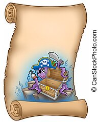 Parchment with pirate octopus - color illustration.