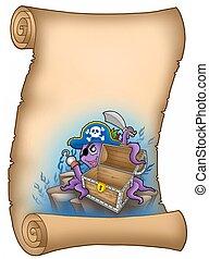 Pergaminho, pirata, polvo