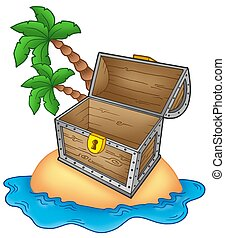 Pirate island with open chest - color illustration.