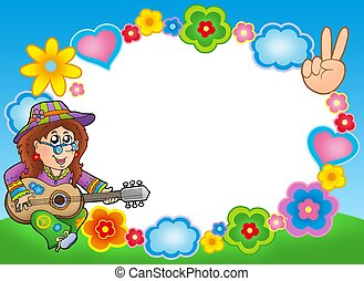 Round hippie frame with guitarist - color illustration.