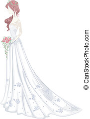 Shabby Chic Wedding Gown - Illustration of a Bride Wearing a...
