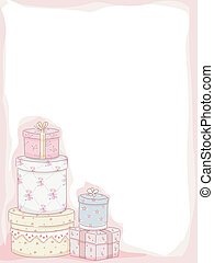 Shabby Chic Frame - Frame Illustration Featuring Stacks of...