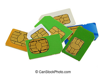 A group of old and used SIM cards - A group of old and used...