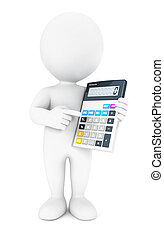 3d white people accountant, isolated white background, 3d...