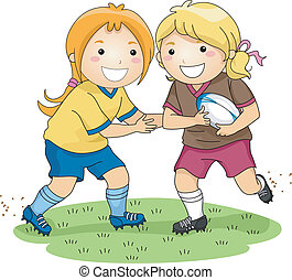 Rugby Girls - Illustration of a Pair of Girls Playing Rugby