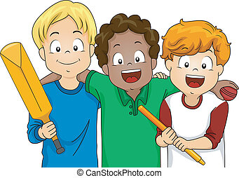 Cricket Boys - Illustration Featuring a Group of Boys Ready...