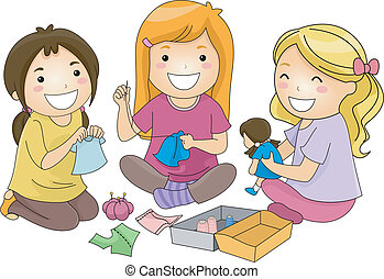 Doll Clothes - Illustration of a Group of Girls Sewing...